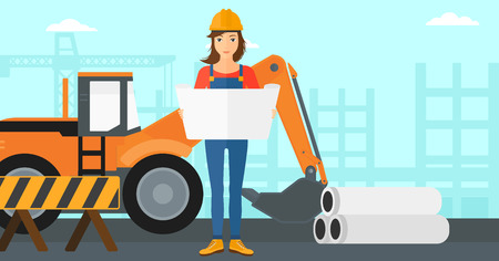 A woman considering a blueprint on a background of excavator on construction site vector flat design illustration. Horizontal layout. Illustration