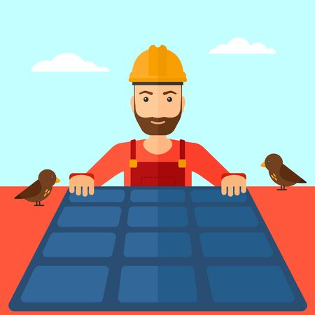 panels: A hipster man with the beard installing solar panels on roof vector flat design illustration. Square layout. Illustration