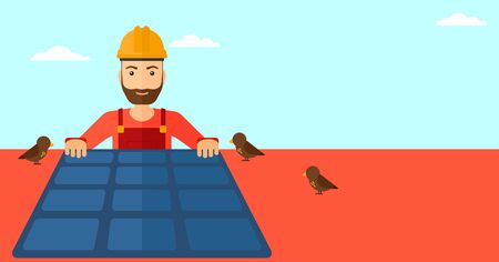 sun sky: A hipster man with the beard installing solar panels on roof vector flat design illustration. Horizontal layout.