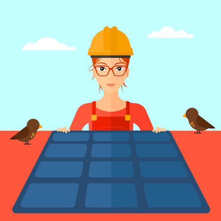 flat roof: A woman installing solar panels on roof vector flat design illustration. Square layout.
