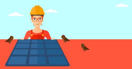 flat roof: A woman installing solar panels on roof vector flat design illustration. Vertical layout. Illustration