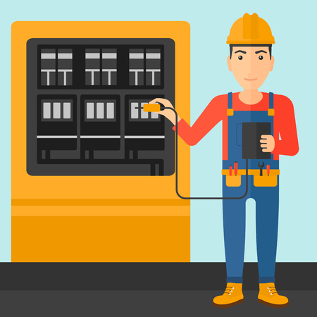 switchgear: A man in helmet measuring the voltage output vector flat design illustration. Square layout. Illustration