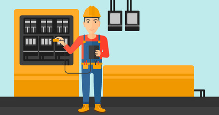 A man in helmet measuring the voltage output vector flat design illustration. Horizontal layout.