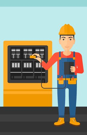 switchboard: A man in helmet measuring the voltage output vector flat design illustration. Vertical layout.