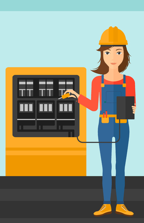 switchboard: A woman in helmet measuring the voltage output vector flat design illustration. Vertical layout.