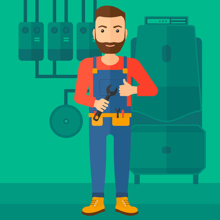 A hipster man with a spanner in hand showing thumb up sign on a background of domestic household boiler room with heating system and pipes vector flat design illustration. Square layout.