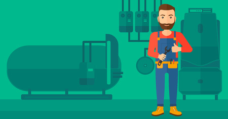 design tools: A hipster man with a spanner in hand showing thumb up sign on a background of domestic household boiler room with heating system and pipes vector flat design illustration. Horizontal layout.