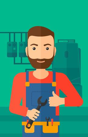 Ein Hipster Mann mit einem Schraubenschlüssel in der Hand Daumen nach oben Zeichen auf einem Hintergrund des inländischen Haushalts Heizraum mit Heizungsanlage zeigt und Rohre Vektor flache Design-Illustration. Vertikal-Layout.