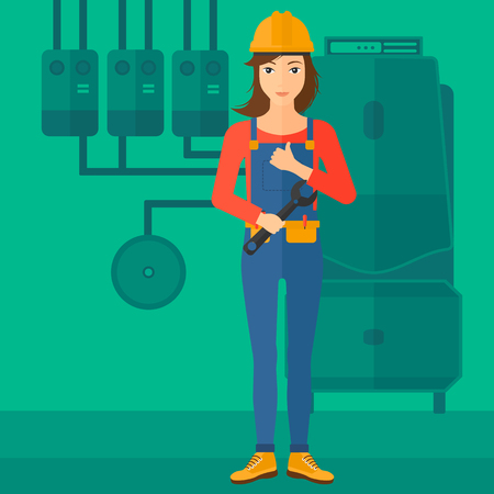 A female repairer engineer with a spanner in hand showing thumb up sign on a background of domestic household boiler room with heating system and pipes vector flat design illustration. Square layout. 일러스트