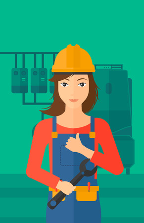 boiler room: A female repairer engineer with a spanner in hand showing thumb up sign on a background of domestic household boiler room with heating system and pipes vector flat design illustration. Vertical layout.