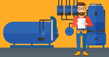 boiler room: A hipster man with the beard making some notes in his tablet on a background of domestic household boiler room with heating system and pipes vector flat design illustration. Horizontal layout.