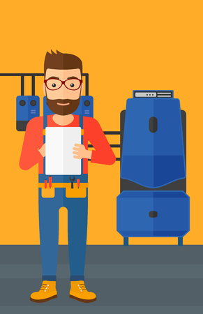 A hipster man with the beard making some notes in his tablet on a background of domestic household boiler room with heating system and pipes vector flat design illustration. Vertical layout. Stock Illustratie