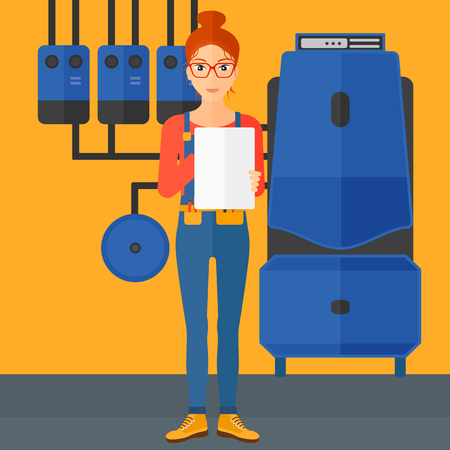 boiler: A woman making some notes in her tablet on a background of domestic household boiler room with heating system and pipes vector flat design illustration. Square layout.