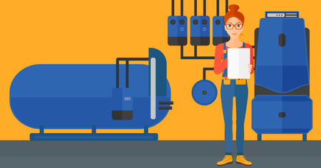 boiler room: A woman making some notes in her tablet on a background of domestic household boiler room with heating system and pipes vector flat design illustration. Horizontal layout. Illustration