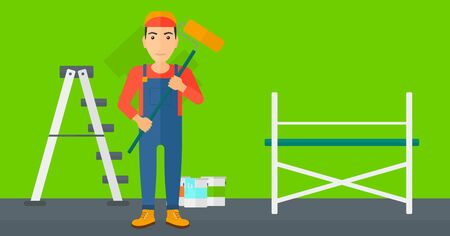 paint cans: A man standing with a paint roller  on a background of room with paint cans and ladder vector flat design illustration. Horizontal layout. Illustration