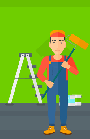 paint cans: A man standing with a paint roller  on a background of room with paint cans and ladder vector flat design illustration. Vertical layout.