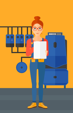 A woman making some notes in her tablet on a background of domestic household boiler room with heating system and pipes vector flat design illustration. Vertical layout.