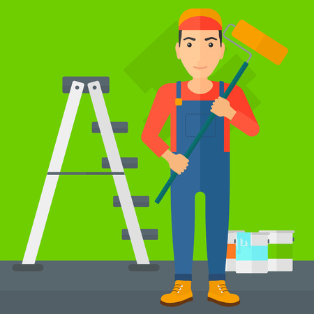 cartoon painter: A man standing with a paint roller  on a background of room with paint cans and ladder vector flat design illustration. Square layout.