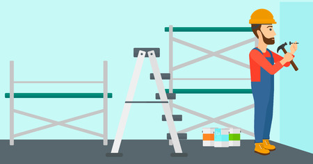 carpentry cartoon: A hipster man with the beard hitting a nail in the wall with a hummer on a background of room with paint cans and ladder vector flat design illustration. Horizontal layout.