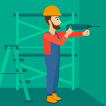 A hipster man with the beard drilling a hole in the wall using a perforator vector flat design illustration. Square layout.