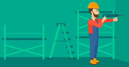 perforator: A hipster man with the beard drilling a hole in the wall using a perforator vector flat design illustration. Horizontal layout.