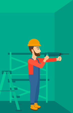 A hipster man with the beard drilling a hole in the wall using a perforator vector flat design illustration. Vertical layout. Иллюстрация