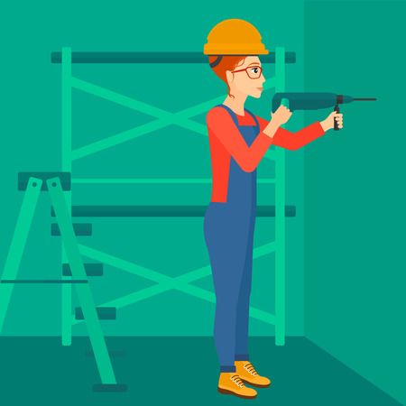 perforator: A constructor drilling a hole in the wall using a perforator vector flat design illustration. Square layout.