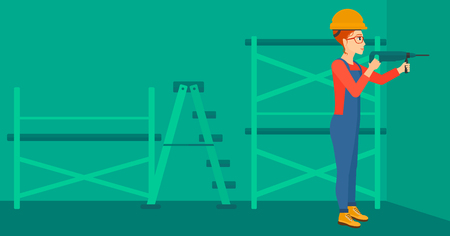 constructor: A constructor drilling a hole in the wall using a perforator vector flat design illustration. Horizontal layout.