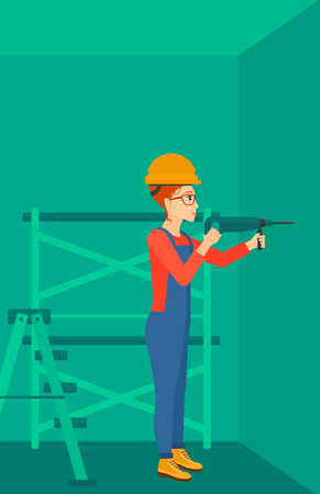 scaffold: A constructor drilling a hole in the wall using a perforator vector flat design illustration. Vertical layout.