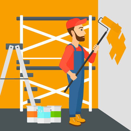 cartoon painter: A hipster man with the beard painting walls with a paint roller vector flat design illustration. Square layout. Illustration