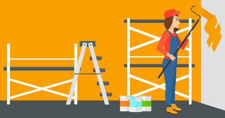 house painter: A woman painting walls with a paint roller vector flat design illustration. Horizontal layout.