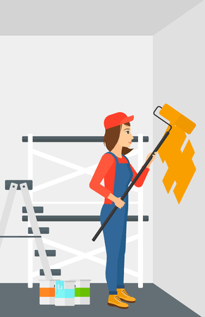 painter cartoon: A woman painting walls with a paint roller vector flat design illustration. Vertical layout. Illustration