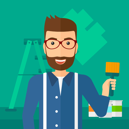 painter cartoon: A hipster man with the beard holding a paint brush on a background of room with paint cans and ladder vector flat design illustration. Square layout. Illustration