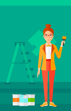 paint cans: A woman holding a paint brush on a background of room with paint cans and ladder vector flat design illustration. Vertical layout. Illustration