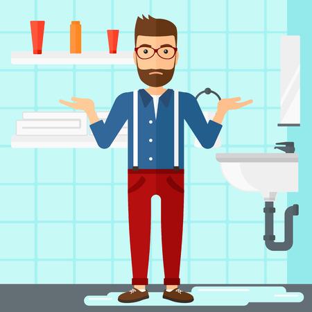 Ein Hipster Mann in Verzweiflung stand in der Nähe Waschbecken im Bad Vektor flache Design, Illustration undicht. Platz Layout.
