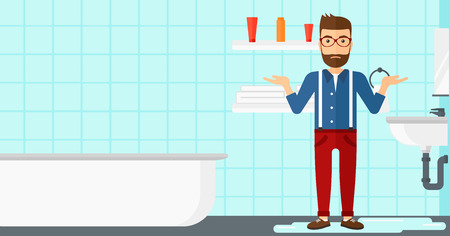 bathroom cartoon: A hipster man in despair standing near leaking sink in the bathroom vector flat design illustration. Horizontal layout.