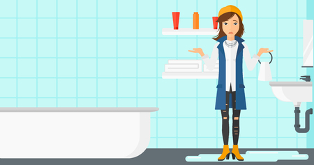 despair: A woman in despair standing near leaking sink in the bathroom vector flat design illustration. Horizontal layout.