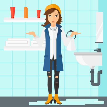 Una mujer de pie cerca de la desesperación fugas lavabo en el diseño de la ilustración del vector plana baño. de planta cuadrada. Ilustración de vector