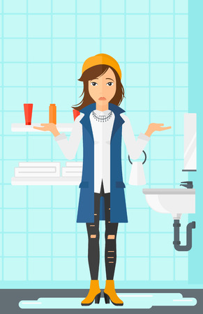 leaking: A woman in despair standing near leaking sink in the bathroom vector flat design illustration. Vertical layout.