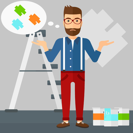 color samples: A doubtful hipster man with the beard choosing color for a room on a background of wall with paint samples vector flat design illustration. Square layout.