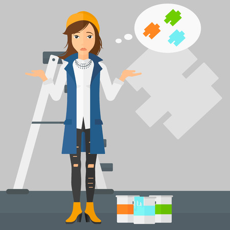 A doubtful woman choosing color for a room on a background of wall with paint samples vector flat design illustration. Square layout. Illustration