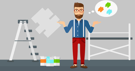 paint samples: A doubtful hipster man with the beard choosing color for a room on a background of wall with paint samples vector flat design illustration. Horizontal layout.