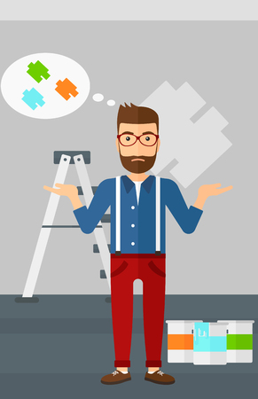 choosing: A doubtful hipster man with the beard choosing color for a room on a background of wall with paint samples vector flat design illustration. Vertical layout.