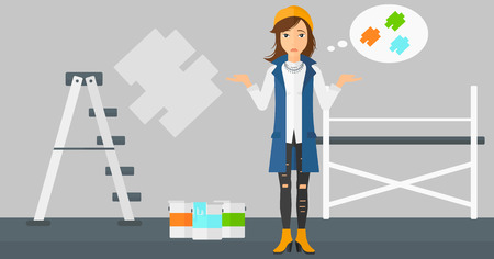 doubtful: A doubtful woman choosing color for a room on a background of wall with paint samples vector flat design illustration. Horizontal layout.