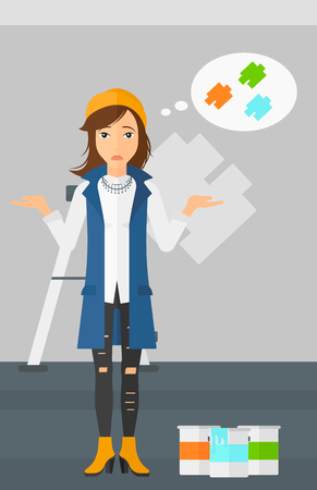 doubtful: A doubtful woman choosing color for a room on a background of wall with paint samples vector flat design illustration. Vertical layout. Illustration