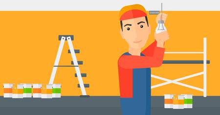 Un travailleur tordant une ampoule sur un fond de chambre avec des pots de peinture et vecteur échelle design plat illustration isolé sur fond blanc. Présentation horizontale.