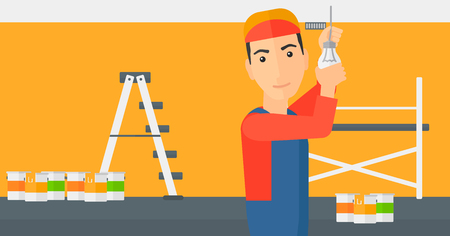 A worker twisting a light bulb on a background of room with paint cans and ladder vector flat design illustration isolated on white background. Horizontal layout. Illustration
