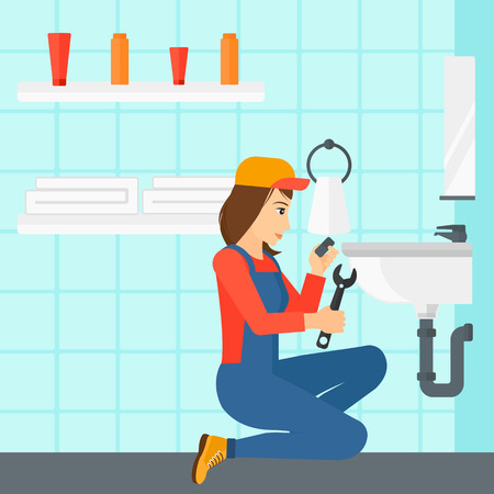A woman sitting in a bathroom and repairing a sink with a spanner vector flat design illustration. Square layout.