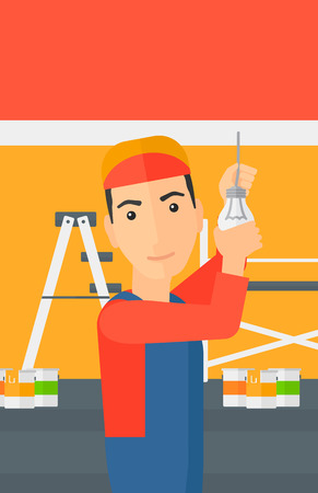 screwing: A worker twisting a light bulb on a background of room with paint cans and ladder vector flat design illustration isolated on white background. Vertical layout.
