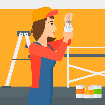 A female worker twisting a light bulb on a background of room with paint cans and ladder vector flat design illustration isolated on white background. Square layout.